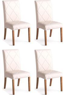 Conjunto Com 4 Cadeiras De Jantar Bali Ii Branco E Castanho