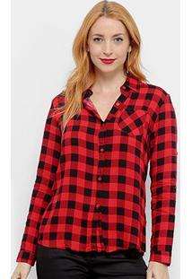 Camisa Xadrez Adooro! Manga Longa Feminina - Feminino-Vermelho