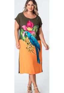 Vestido Almaria Plus Size Munny Midi Estampado Ver