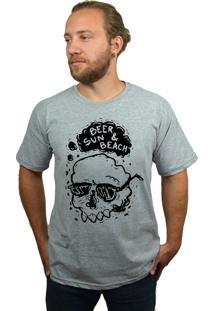 Camiseta Hshop Beer Sun - Cinza Mescla