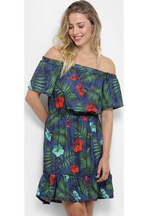 Vestido Mercatto Evasê Curto Ombro A Ombro Estampado - Feminino-Azul+Verde