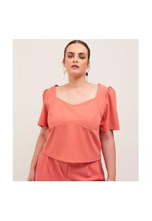 Blusa Cropped Lisa Em Alfaiataria Curve E Plus Size Laranja