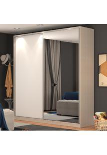 Guarda-Roupa Casal 2 Portas Correr 1 Espelho 100% Mdf Rc2006 Noce/Branco - Nova Mobile