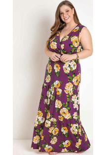 Vestido Longo Floral Púrpura Plus Size