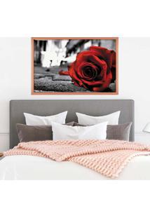 Quadro Love Decor Com Moldura Rose On The Floor Rose Metalizado Médio