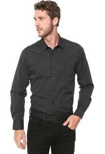 Camisa Aleatory Slim Listrada Preta