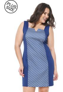 ... Vestido Rovitex Plus Curto Recortes Azul c07ac460e6