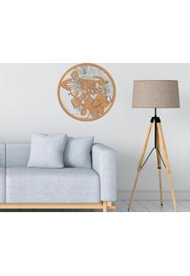 Escultura De Parede Wevans Mandala Bird, Madeira + Espelho Decorativo