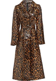 Miu Miu Trench Coat Com Animal Print - Marrom