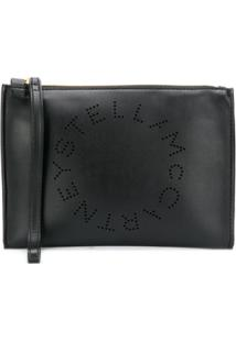 Stella Mccartney Perforated Logo Clutch - Preto