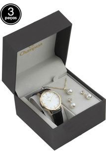 Kit 3Pçs Relógio Champion Cn28287D Preto/Dourado