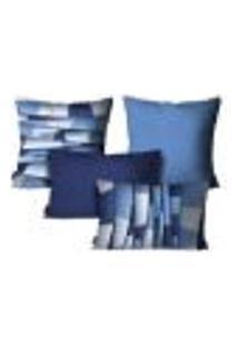 Kit Com 4 Capas Para Almofadas Abstrato Azul Kit Com 4