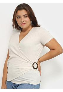 Blusa Plus Size Lecimar Transpassada Feminina - Feminino-Bege