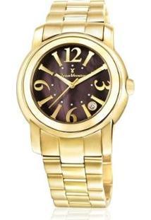 Relógio Jean Vernier Pulseira Aço Vidro Cristal Feminino - Feminino-Dourado+Marrom