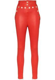 Skiim Calça Natalie Cintura Alta De Couro - Vermelho