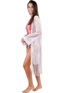 Kimono Banna Hanna Em Renda Com Franja Off White Unico