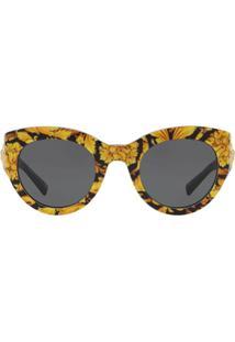 Versace Eyewear Tribute Barocco Print Sunglasses - Amarelo