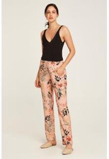 Calça Pijama Botanique Feminina - Feminino-Rosa+Preto