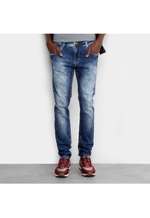Calça Jeans Skinny Sawary Marmorizada Elastano Masculina - Masculino-Jeans