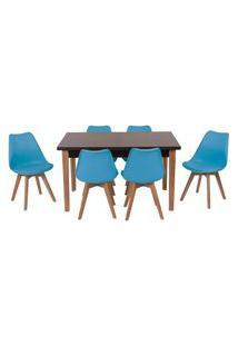 Conjunto Mesa De Jantar Luiza 135Cm Preta Com 6 Cadeiras Leda - Turquesa