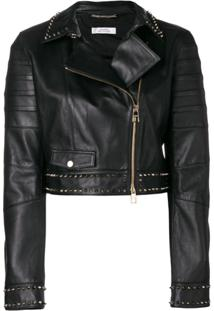 Versace Collection Jaqueta Biker De Couro - Preto