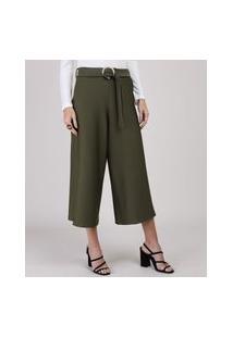 Calça Feminina Pantacourt Cintura Alta Com Cinto Verde Militar