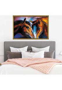 Quadro Love Decor Com Moldura Cavalos Dourado Grande