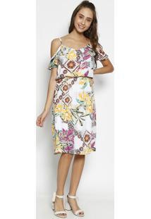 Vestido Floral Com Babados - Branco & Amarelomoiselle