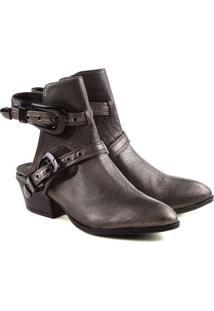 Open Boot Metalizada Com Fivelas- Marrom Escuroschutz