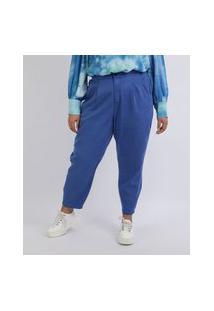 Calça Feminina Mindset Plus Size Mom Alfaiatada Cintura Alta Com Bolsos Azul
