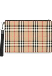 Burberry Carteira Com Vintage Check - Neutro