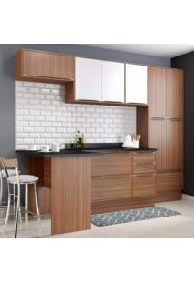 Cozinha Completa 8 Módulos 11 Portas Calábria Multimóveis Nogueira/Branco Texturizado