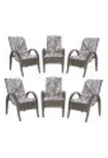 Cadeiras 6Un P/ Jardim Lazer Edicula Varanda Descanso Fibra E Tramas Napoli Plus Pedra Ferro A13