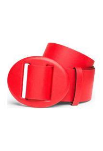 Cinto Cintura Medio Fivela Encapada Vermelho