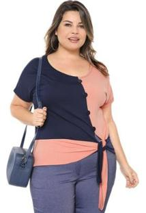 Blusa Plus Size Bicolor Nó Feminina - Feminino-Azul Escuro