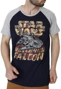 Camiseta Manga Curta Masculina Star Wars Azul