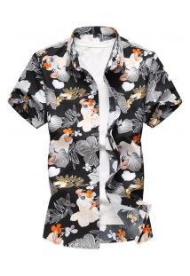 Camisa Masculina Design Floral - Preto
