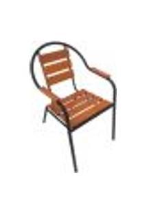 Cadeira De Jardim Willow Alumínio Preta E Madeira