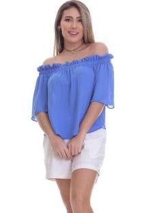Blusa Clara Arruda Ombro A Ombro Feminino - Feminino-Azul