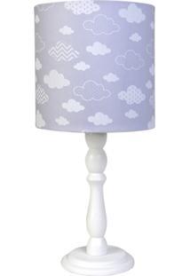 Abajur Madeira Nuvem Quarto Bebê Infantil Potinho De Mel Cinza - Kanui