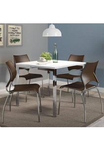 Mesa 1525 Branca Cromada Com 4 Cadeiras 357 Cacau Carraro