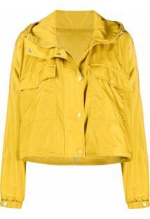Moncler Jaqueta Cropped Com Capuz - Amarelo