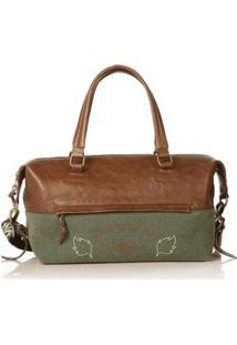 Bolsa Blue Bags Bowling Bordado Terra Feminina - Feminino-Verde+Marrom