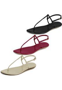 Kit 3 Pares Sandália Flat Rasteira Mercedita Shoes Preto