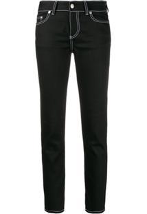 Alexander Mcqueen Calça Jeans Reta Com Costura Contrastante - Preto