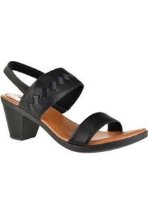 Sandália De Salto Baixo Usaflex Feminino - Feminino-Preto