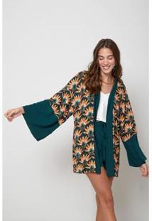 Kimono Oh, Boy! Est Leque Feminino - Feminino-Verde
