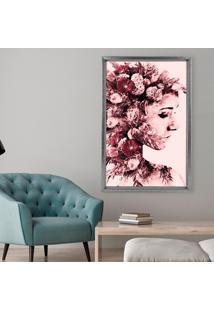 Quadro Com Moldura Chanfrada Mulher Com Rosas Grafitti Metalizado - Médio