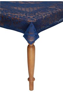 Toalha De Mesa Lepper Rosas Retangular 8 Lugares Azul 1,55 X 2,50 - Azul - Dafiti