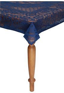 Toalha De Mesa Lepper Rosas Retangular 8 Lugares Azul 1,55 X 2,50